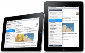Apple iPad mail application in lanscape and portrait orientation